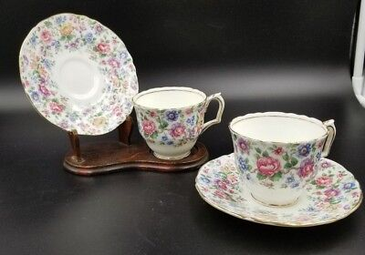 Bone China Tea Cup & Saucer By Crown Staffordshire Floral Chintz Springtime