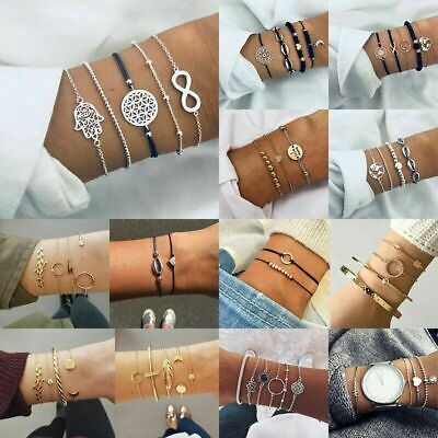 Fashion Natural Stone Crystal Chain Alloy Rope Bracelets Women Jewelry Set Gift
