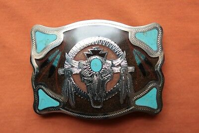Johnson Held Hand Made Turquoise Inlay Bull Skull Western Belt Buckle