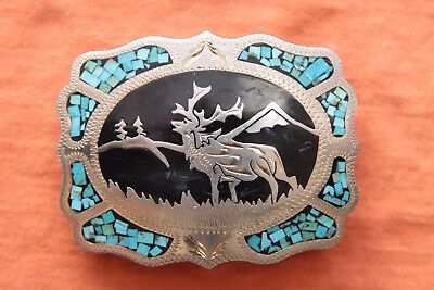 Vintage Johnson Held Turquoise Inlay Elk Deer Western Belt Buckle