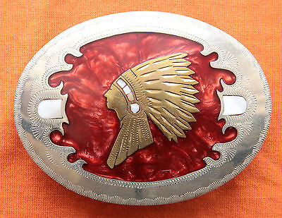 Vtg Johnson Held Indian Chief Mother of Pearl Inlay Western Belt Buckle