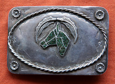 Vtg Sterling Silver Navajo Horse Head Turquoise InlayHand Made  Belt Buckle