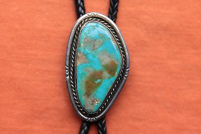 Vintage Hand Made Sterling Silver Turquoise Bolo Tie