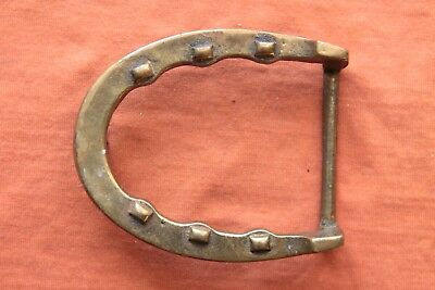 Vintage Hand Made Solid Brass Cast Lucky Horseshoe Western Cowboy Belt Buckle
