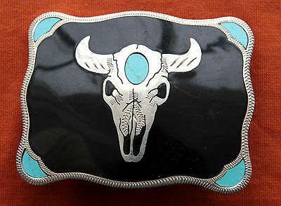 Vtg Johnson Held Bull Skull Turquoise Inlay Hand Crafted Western Belt Buckle