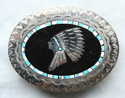 Vtg Johnson Held Indian Chief Turquoise Inlay Hand Crafted Western Belt Buckle