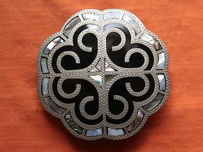 Vintage Johnson Held Abalone Inlay Hand Made Iron Cross Western Belt Buckle