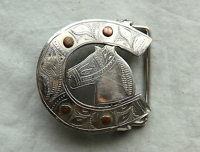 Vintage Hand Made Engraved Horse Head In Lucky Horseshoe Western Belt Buckle