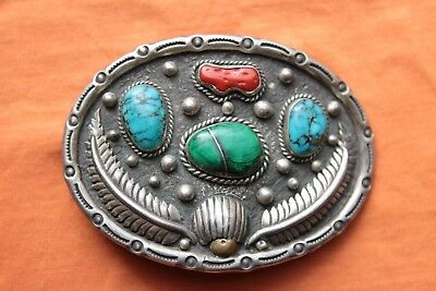 Vintage Sterling Silver Turquoise Coral Malachite Hand Made Western Belt Buckle