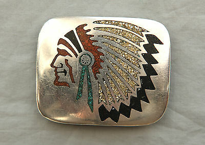 Vtg Hand Made Coral Turquoise Inlay Sterling Overlay Indian Chief  Belt Buckle