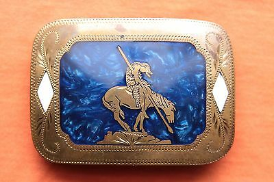 Vtg Johnson Held Mother of Pearl Inlay Indian Horse Rodeo Western Belt Buckle