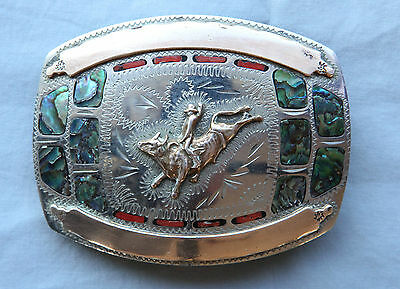 Vtg Johnson Held Bull Rodeo Abalone Coral Inlay Hand Made Western Belt Buckle