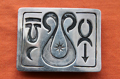 Vintage Sterling Silver Aries Artist Hand Made Western Belt Buckle
