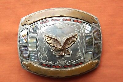 Vtg Johnson Held Flying Eagle Abalone Coral Inlay Hand Made Western Belt Buckle