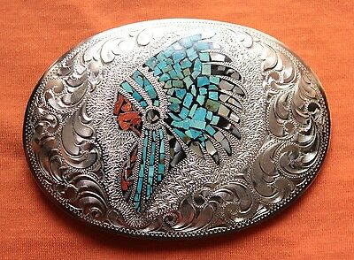 Vtg BK Hand Made Turquoise Coral Abalone Indian Chief Inlay Western Belt Buckle