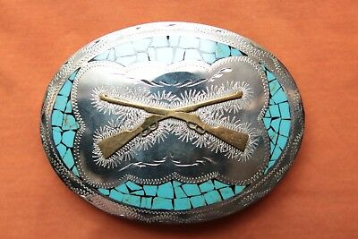 Johnson Held Hand Made Turquoise Inlay Cross Guns Rifles Western Belt Buckle