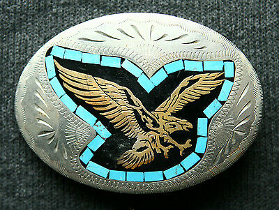 Vtg Johnson & Held Hand Crafted Flying Eagle Turquoise Inlay Western Belt Buckle
