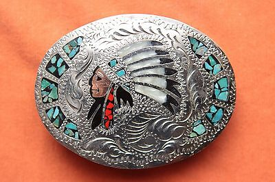 Vintage Hand Made Turquoise Coral Pearl Indian Chief Inlay Western Belt Buckle