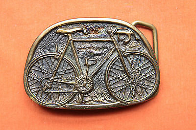 Vintage BTS Solid Brass Bicycle Made In USA Belt Buckle