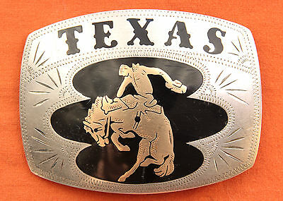 Vtg Johnson Held Cowboy Bronco Horse Rodeo TEXAS Hand Made Western Belt Buckle