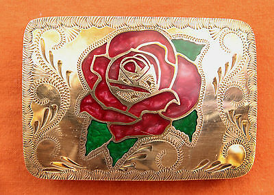 Vtg Johnson Held  Cowgirl Hand Made Mother of  Pearl Inlay Western Belt Buckle