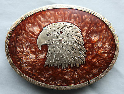 Vtg Johnson Held Eagle Mother of Pealr Inlay Hand Crafted Western Belt Buckle