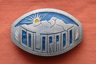 Vtg Johnson Held COLORADO Mountain Sun Inlay Hand Made Western Belt Buckle