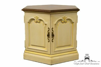 High End Cream Off-White French Provincial Hexagonal Storage End / Accent Table