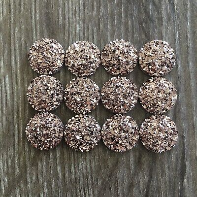 12x 12mm Rose Gold Glitter Druzy Round Resin Cabochon Flatback Embellishments