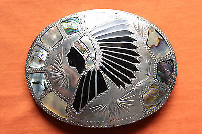 Vintage Johnson Held Abalone Inlay Hand Made Indian Chief Western Belt Buckle