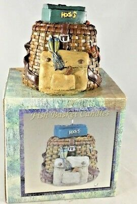 Fishing Basket Candle Solid Detailed Vintage 2001 Boxed