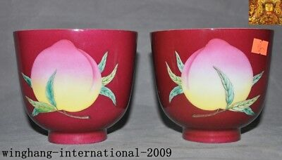 """4""""Rare old Chinese dynasty palace red glaze porcelain peach Shoutao Tea cup Bowl"""