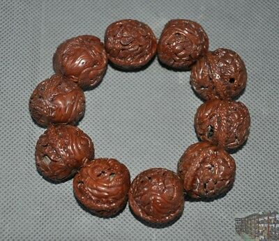 China Wen play antique Walnut nuclear carve Pine trees Crane Bracelet hand chain