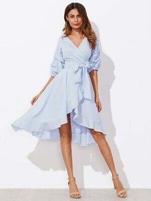 91a5af4cec Boho Blue Gathered Sleeve Surplice Wrap Pinstripe Knot Belted Asymmetrical  Dress