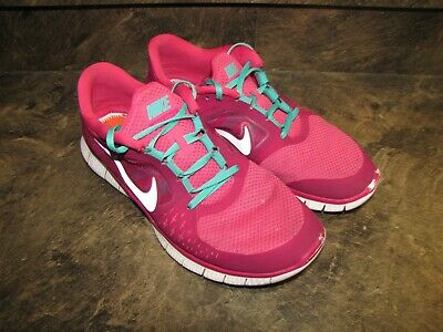 big sale a4e43 bfee6 NIKE FREE RUN 3 RASPBERRY TEAL WOMENS 12 NICE USED CLEAN WORN see  pics-details