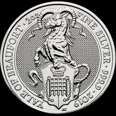 2oz Queens Beasts Yale of Beaufort 2019 999 fine silver, in capsule.