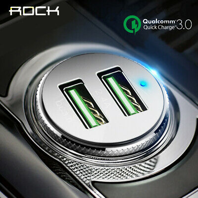 ROCK Universal Car Charger QC 3.0 Quick Dual USB Fast Charging 3.4A For iphone X