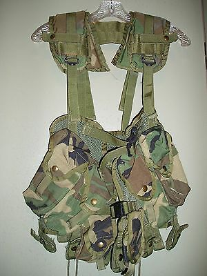 US Army Woodland Camo Enhanced Tactical Load Bearing Vest - Good to VG Condition