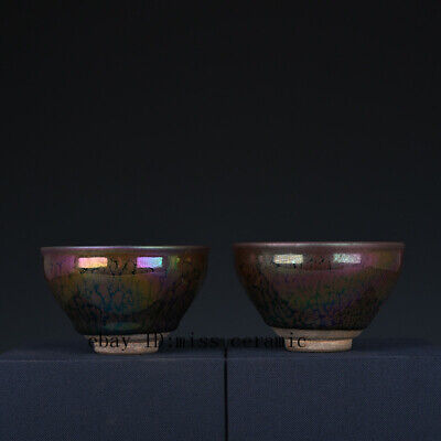 A pair Fine Chinese old Porcelain Song jian kiln Seven colors jianzhan cup