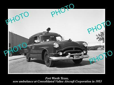 Old Large Historic Photo Of Fort Worth Texas, The Vultee Aircraft Ambulance 1953