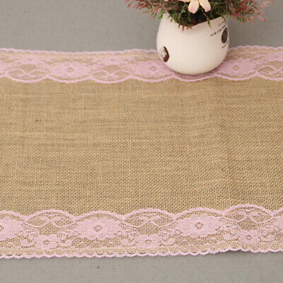 White Lace Table Runners Burlap Jute Lace Rustic Wedding Party Tablecloth 6A