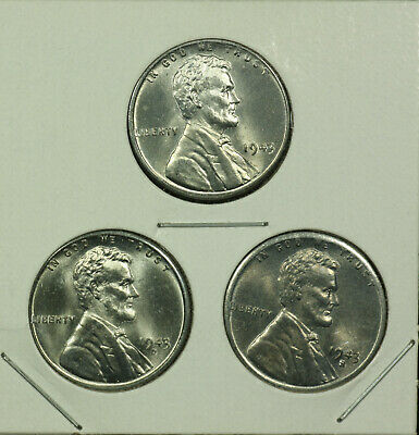 LOT 1943-P 1943-D 1943-S Pds Steel Lincoln Wheat Wwii Cent