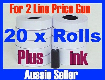 White Price Gun Tags Labels 20 Rolls For Double Lines Price Gun + Ink Mx6600