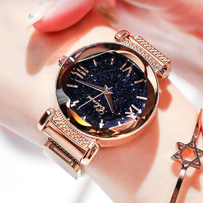 Luxury Stainless Steel Starry Sky Watch Magnet Strap Free Buckle Gift NEW