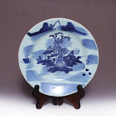 Nice Chinese Ming Dynasty ChengHua Old Plate Blue and white Landscape Dish JZ213