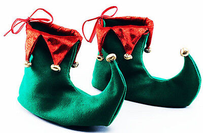 Adult Elf Green Red Jester Pixie Boots Shoes Christmas Xmas Fancy Dress Costume