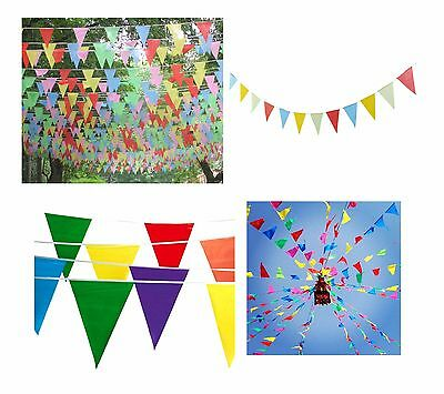 10m Multicolored Bunting Banner Triangle 20 Flags Pennant Wedding Party Decor
