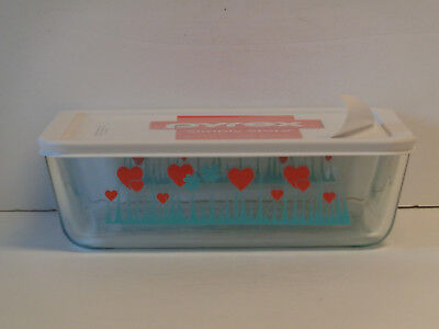 Pyrex Lucky In Love 11-Cup Rectangular Bowl & Lid Pink Hearts Green Shamrocks