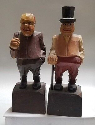 2 Vintage Hand Carved Black Forest Wood Figurines German Anri Style