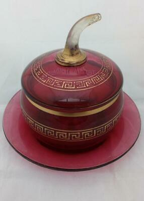 Ruby Glass Cranberry Lidded Bon-Bon Under Plate Greek Key Victorian 1860
